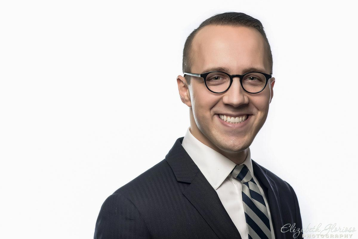 Business headshot on a white studio background in Cleveland, Ohio