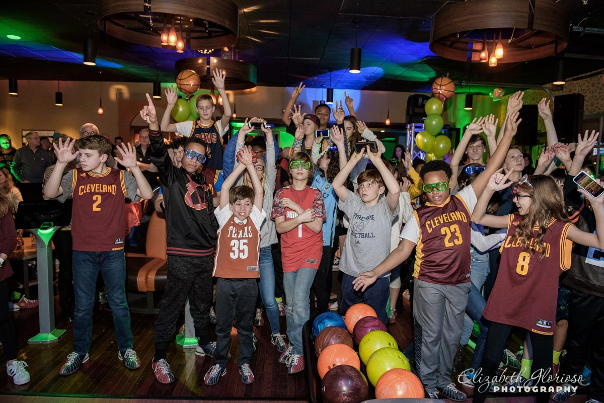 Bar Mitzvah boy with friends at Bowling Party Solon Ohio