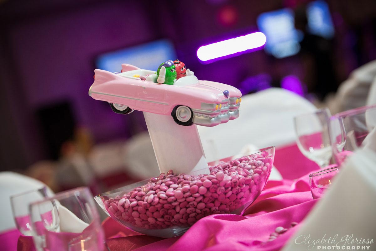 M&M candy themed party center piece in pink