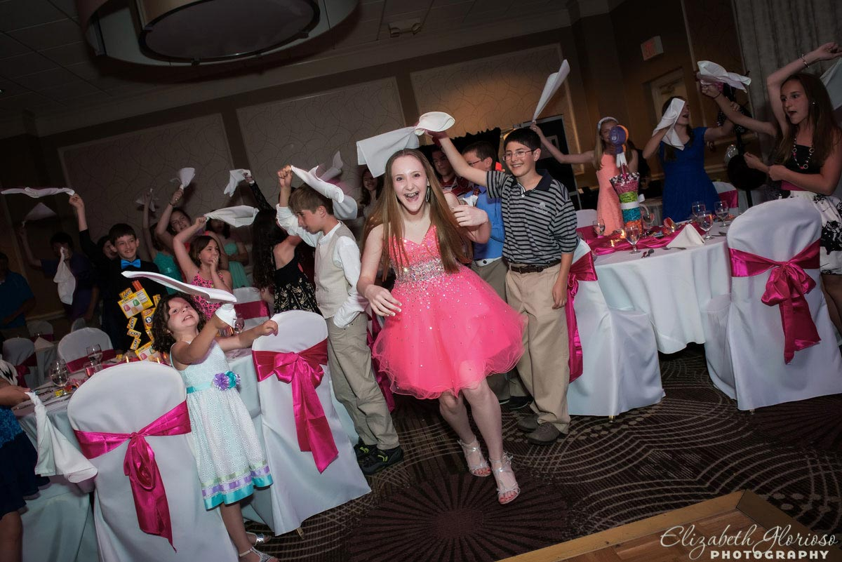Bat Mitzvah girl in pink party dress at Hilton Doubletree in Fairlawn Ohio