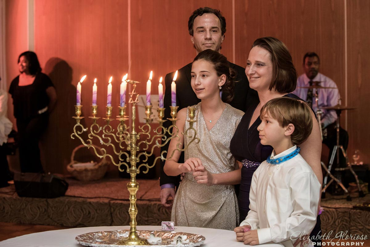 Lighting the menorah at a Bat Mitzvah
