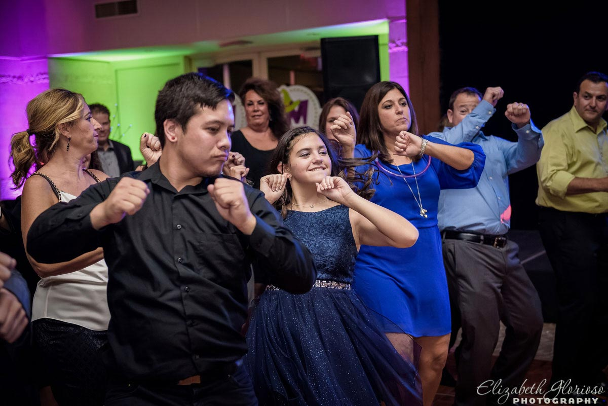 Dancing candid at mitzvah party in Canton Ohio