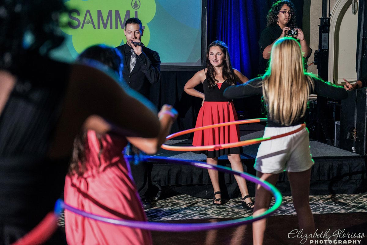 Mitzvah girl hula hooping at Beechmont Country Club Pepper Pike Ohio