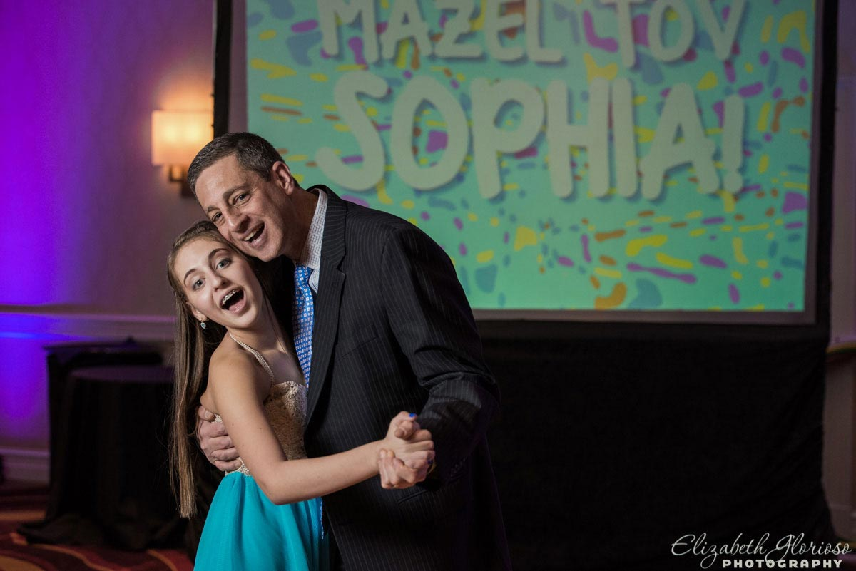 Father Daughter portrait at Embassy Suites mitzvah party in Beachwood Ohio