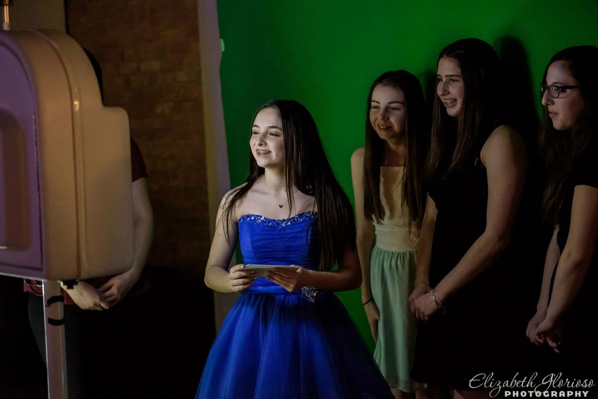Bat Mitzvah girl in blue party dress at Tifereth Israel in Beachwood Ohio