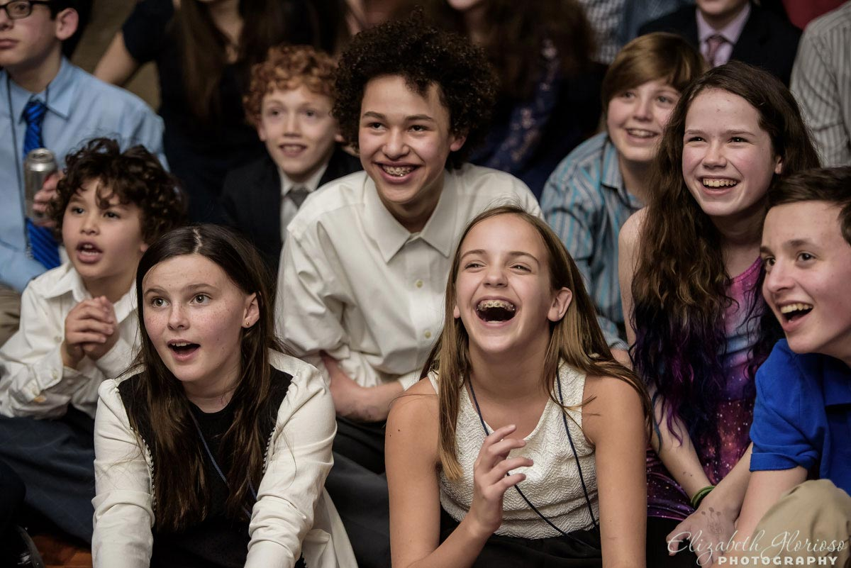 Bat mitzvah laughs at party in Beachwood Ohio