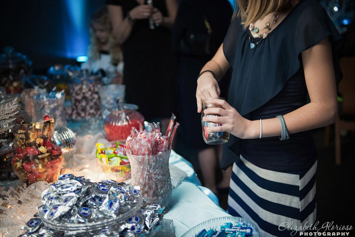 Winter themed candy bar at Mitzvah in Akron Ohio