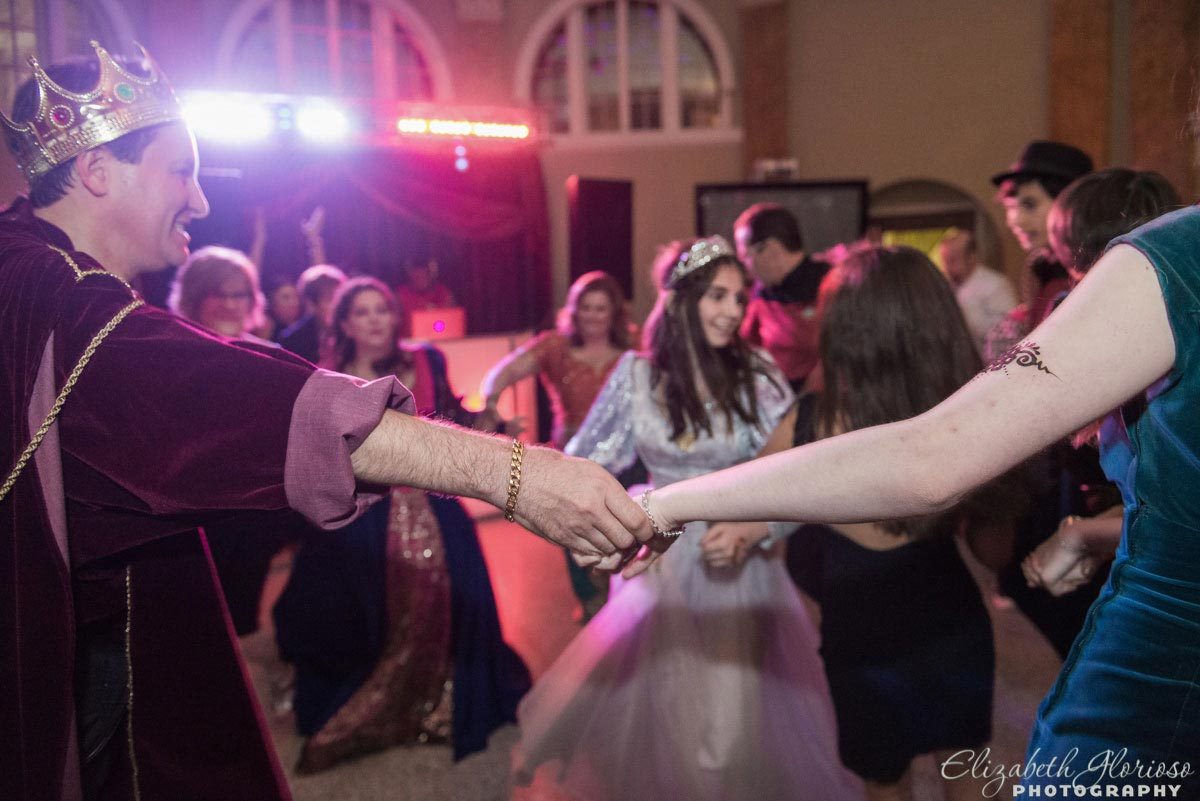 Medieval masquerade Mitzvah Party dancing at Park Lane Ballroom in Cleveland Ohio