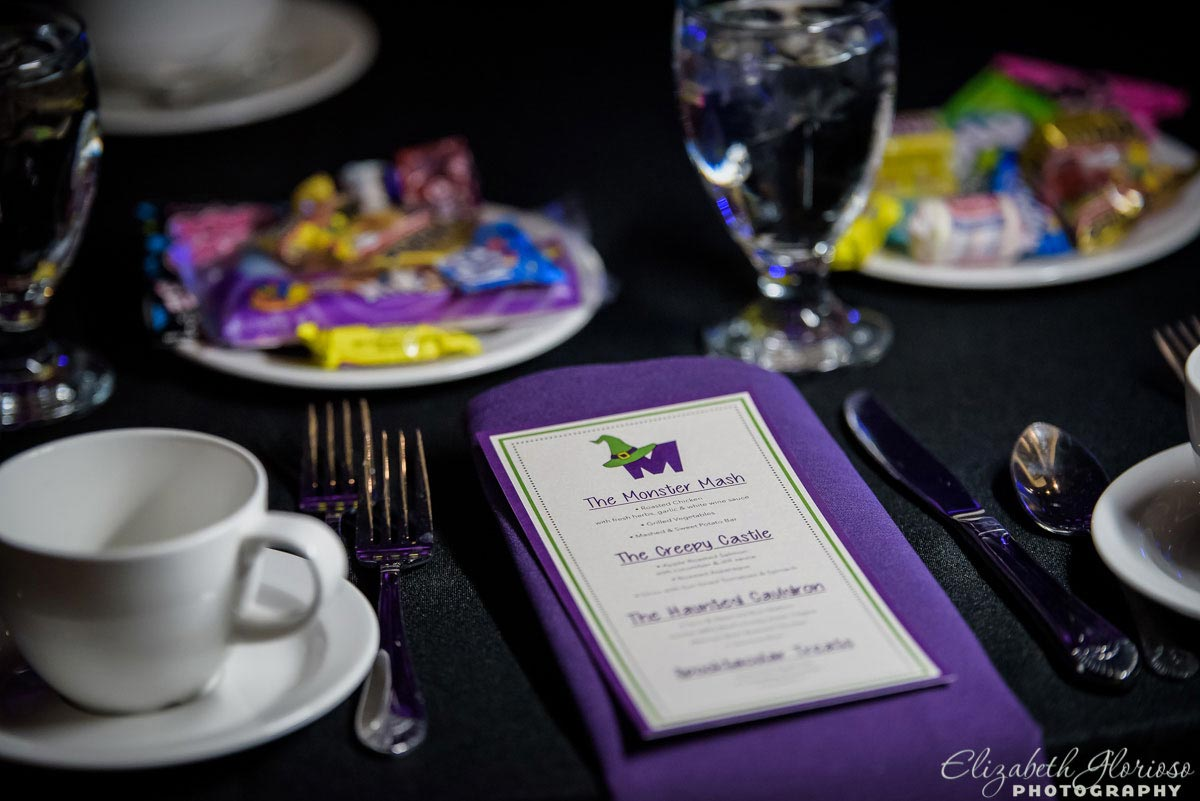 Halloween themed place setting at a mitzvah party at Fairmount Temple in Beachwood Ohio
