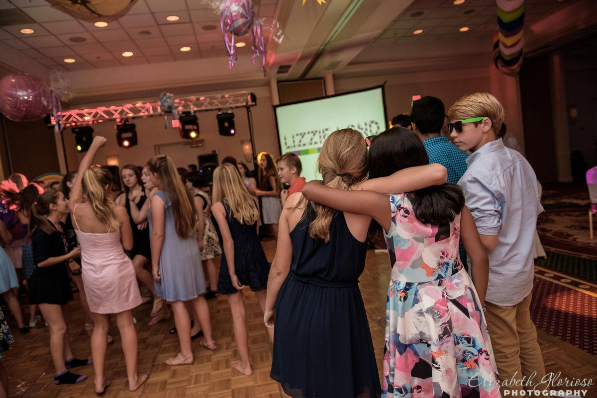 Mitzvah party dancing candid at Hilton Doubletree in Beachwood Ohio