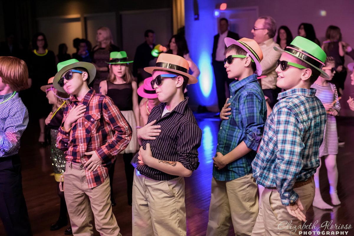 Boys in party hats at Mitzvah at Hilton Doubletree in Beachwood Ohio