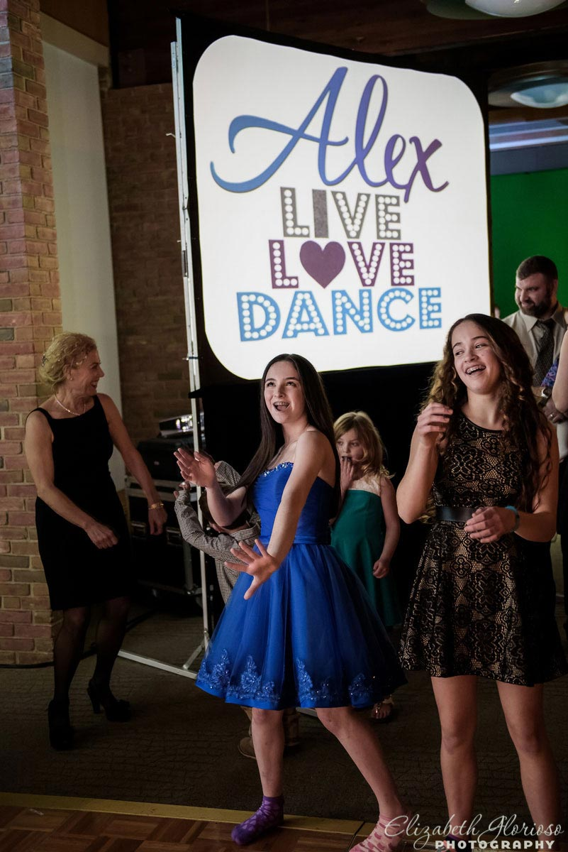 Dance party candid at Bat Mitzvah at Tifereth Israel in Beachwood Ohio