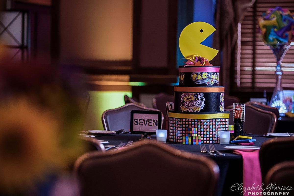 80's Pac Man center piece for Mitzvah at Lockkeepers in Cleveland Ohio