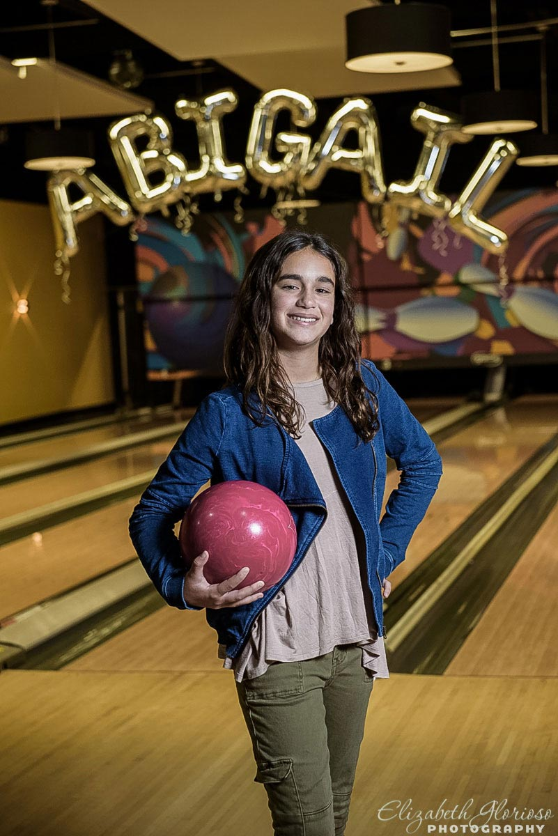 Bowling Bat Mitzvah girl at Games of Mentor in Mentor Ohio