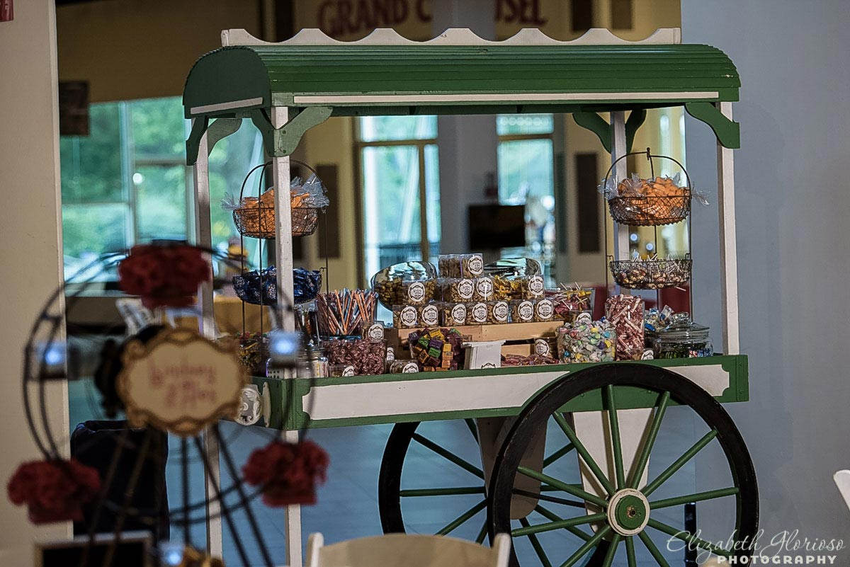An old fashioned candy bar for a carnival theme Mitzvah at the Cleveland Historical Society