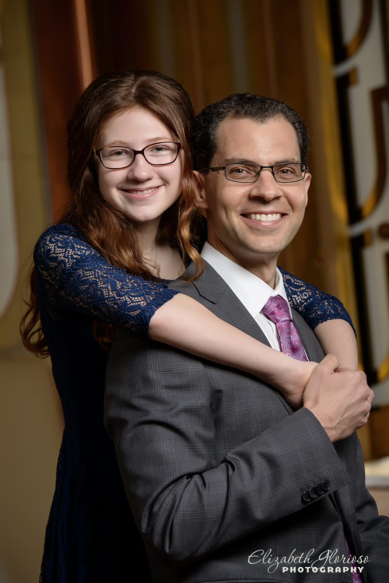 Bat Mitzvah portrait with Dad Park Synagogue Cleveland Heights Ohio