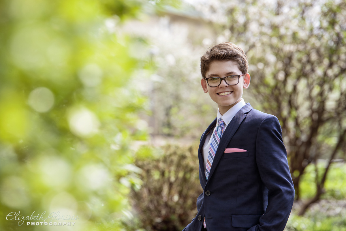 Bar Mitzvah Spring Portrait Park Synagogue Cleveland Heights Ohio