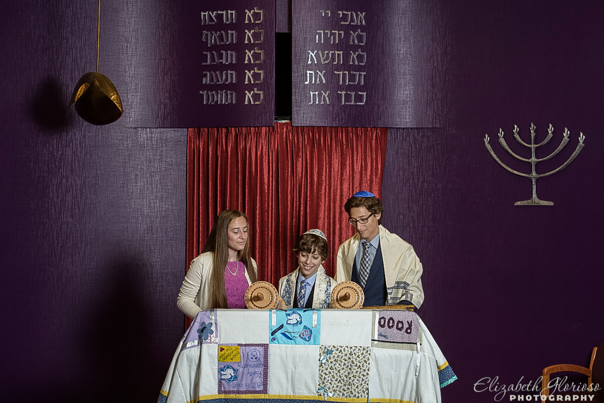 Bar Mitzvah portrait at the Bimah in the chapel at B'nai Jeshurun in Pepper Pike, Ohio