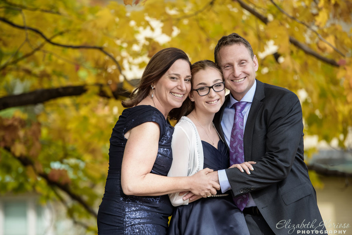Bat Mitzvah portraits with yellow autumn leaves in Cleveland Ohio