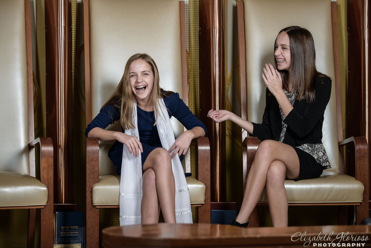 Bat Mitzvah girl with her sister at Park Synagogue in Cleveland Heights, Ohio
