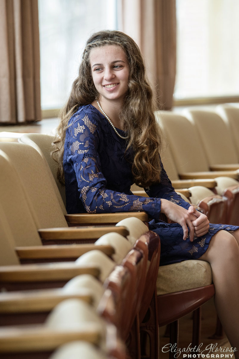 Bat Mitzvah casual portrait at Park Synagogue in Cleveland Heights, Ohio