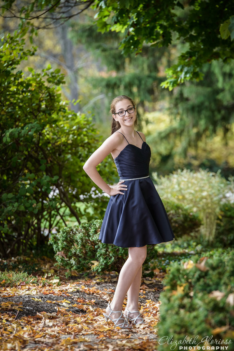 Bat Mitzvah portrait outdoors at Park Synagogue in Cleveland Heights, Ohio