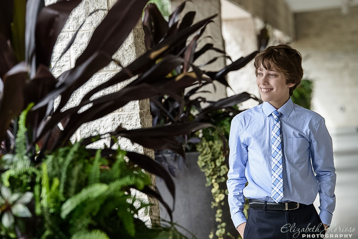 Bar Mitzvah boy portrait at Fairmount Temple Beachwood, Ohio