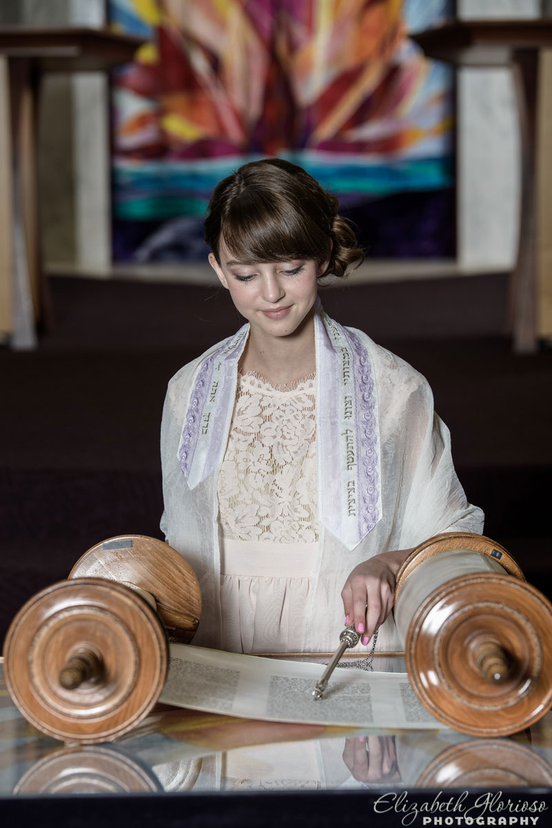 Bat Mitzvah girl on the Bimah at B'nai Jeshurun in Pepper Pike, Ohio
