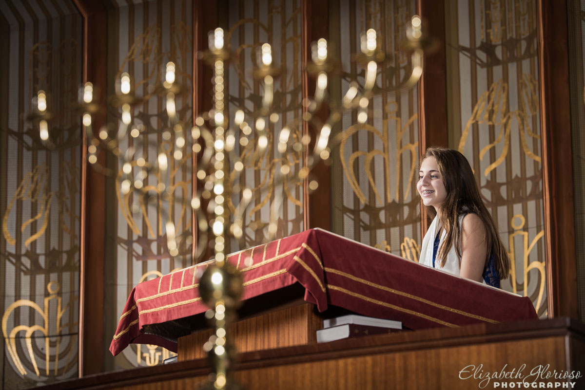 Bat Mitzvah rehearsal with menorah at Park Synagogue Cleveland Heights, Ohio