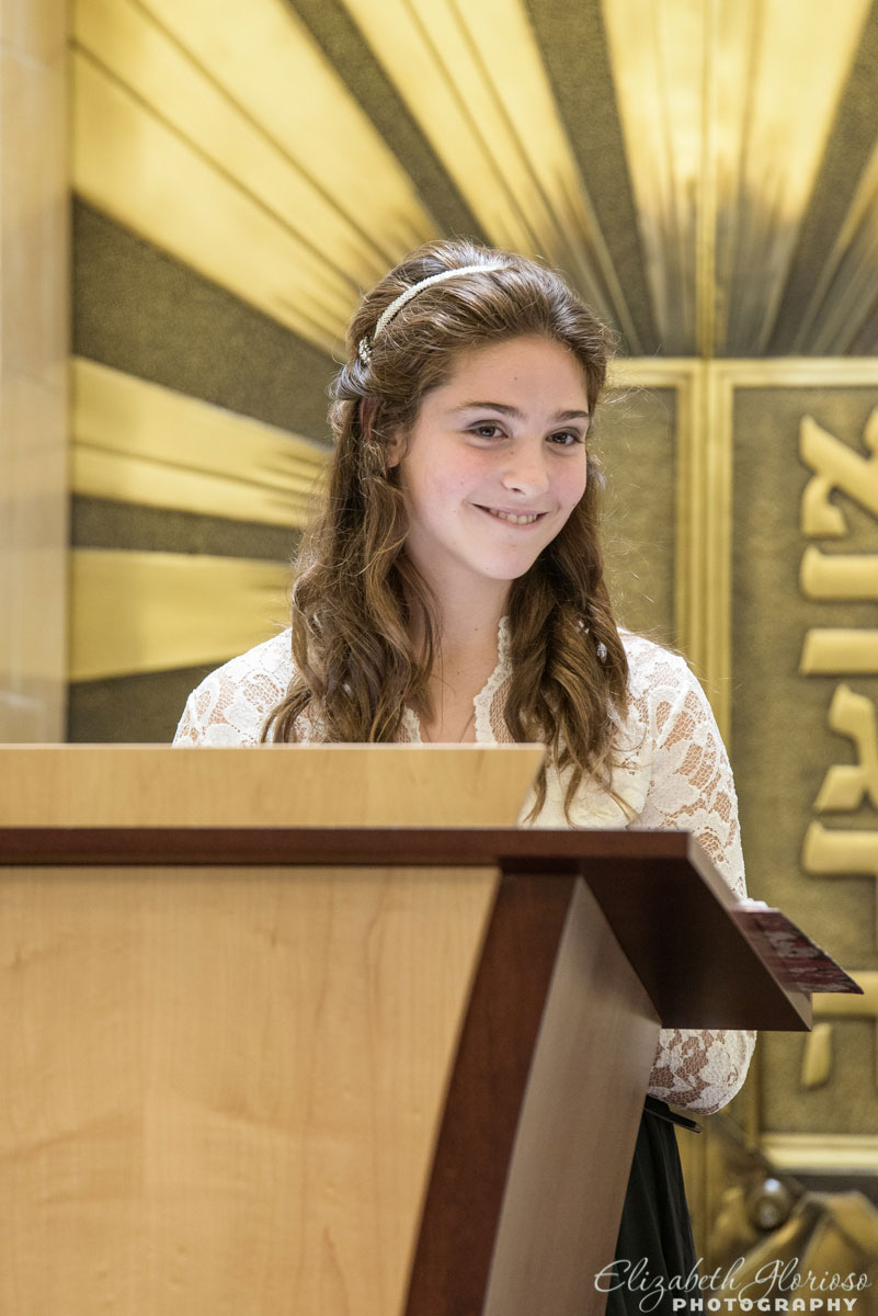 Mitzvah girl reading her speech during her service at Revere Road Synagogue Akron, Ohio