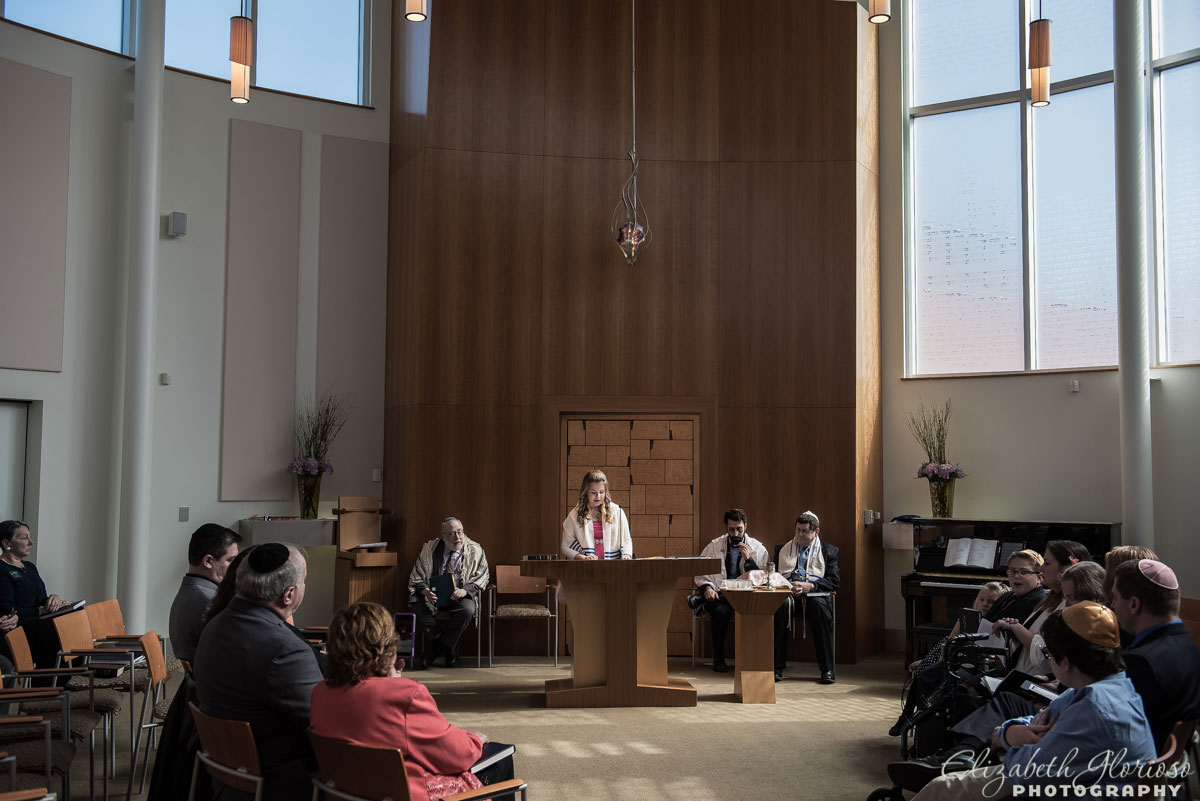 Mitzvah service in the chapel at Temple Emanu El Orange Village, Ohio