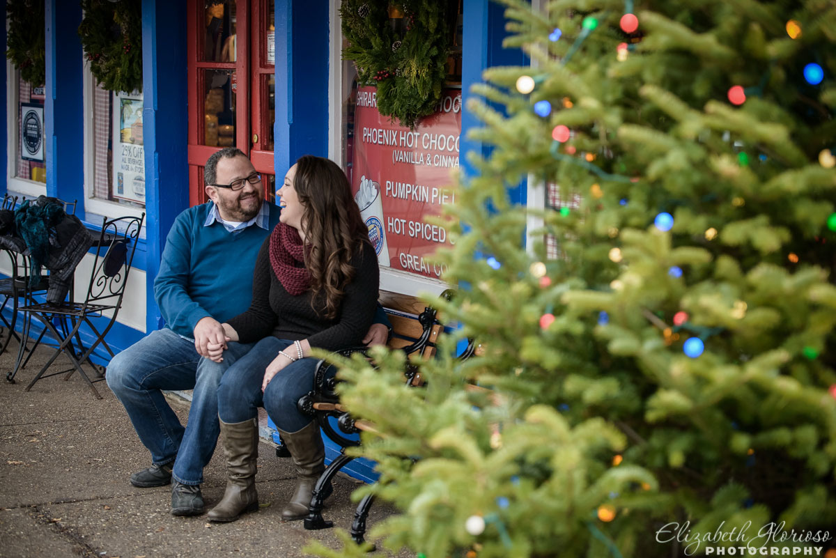 Winter engagement at the Popcorn Shop in Chagrin Falls, Ohio