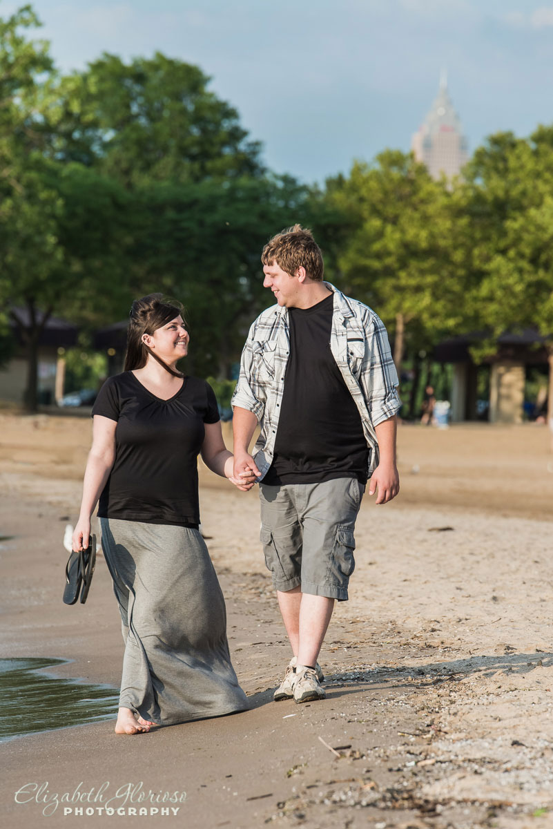 Summer engagement session on Edgewater beach in Cleveland, Ohio