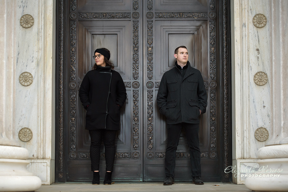 Cleveland Museum of Art winter engagement photo session
