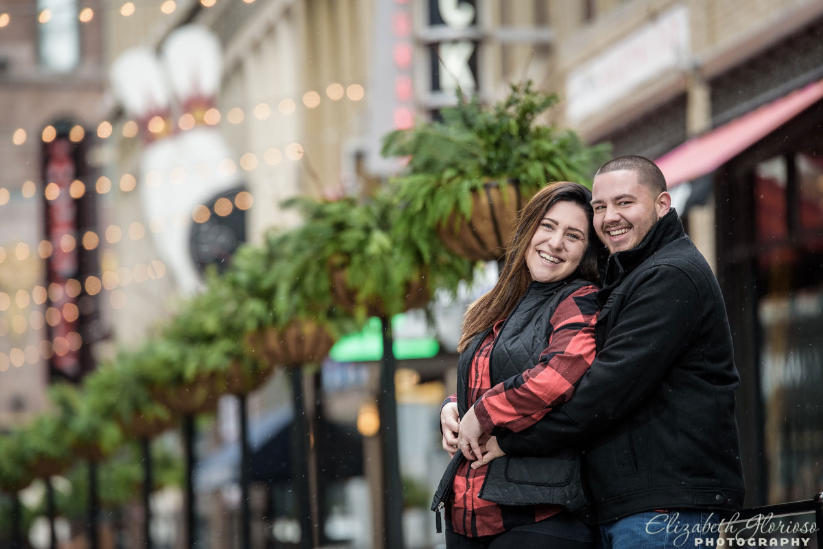 Engagement session on East 4th Street in Cleveland, Ohio