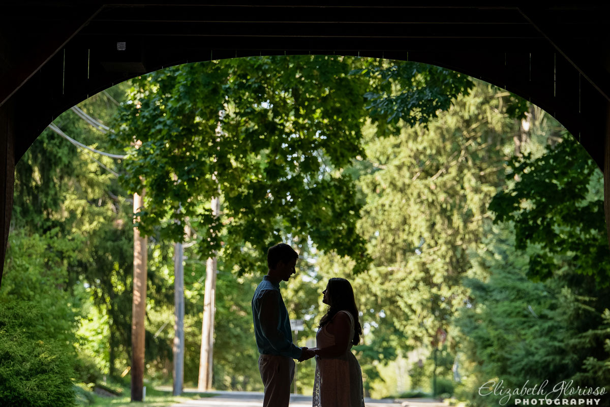 Engagement session at the covered bridge in Olmsted Falls, Ohio