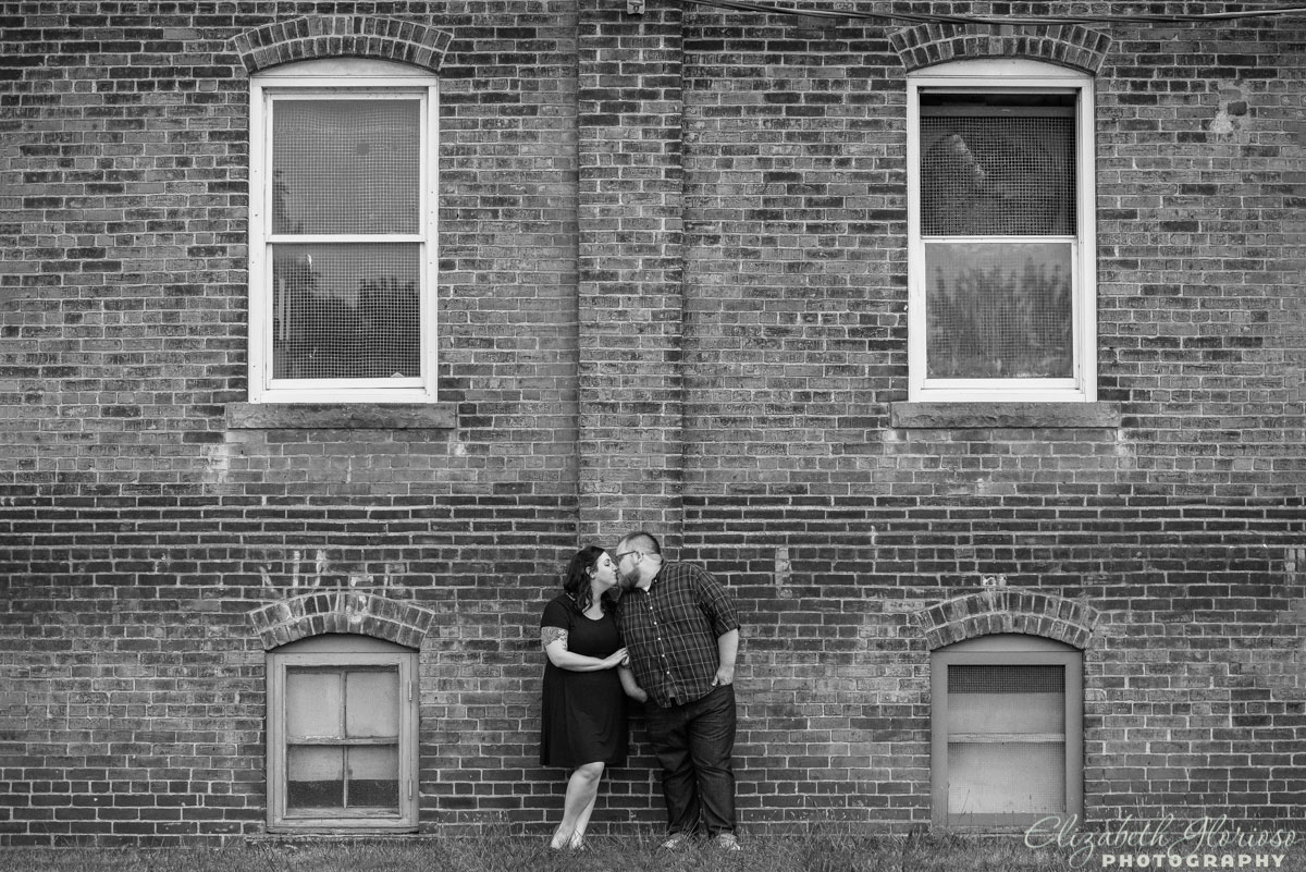 Engaged couple at West 78th Street Studios in Cleveland, Ohio