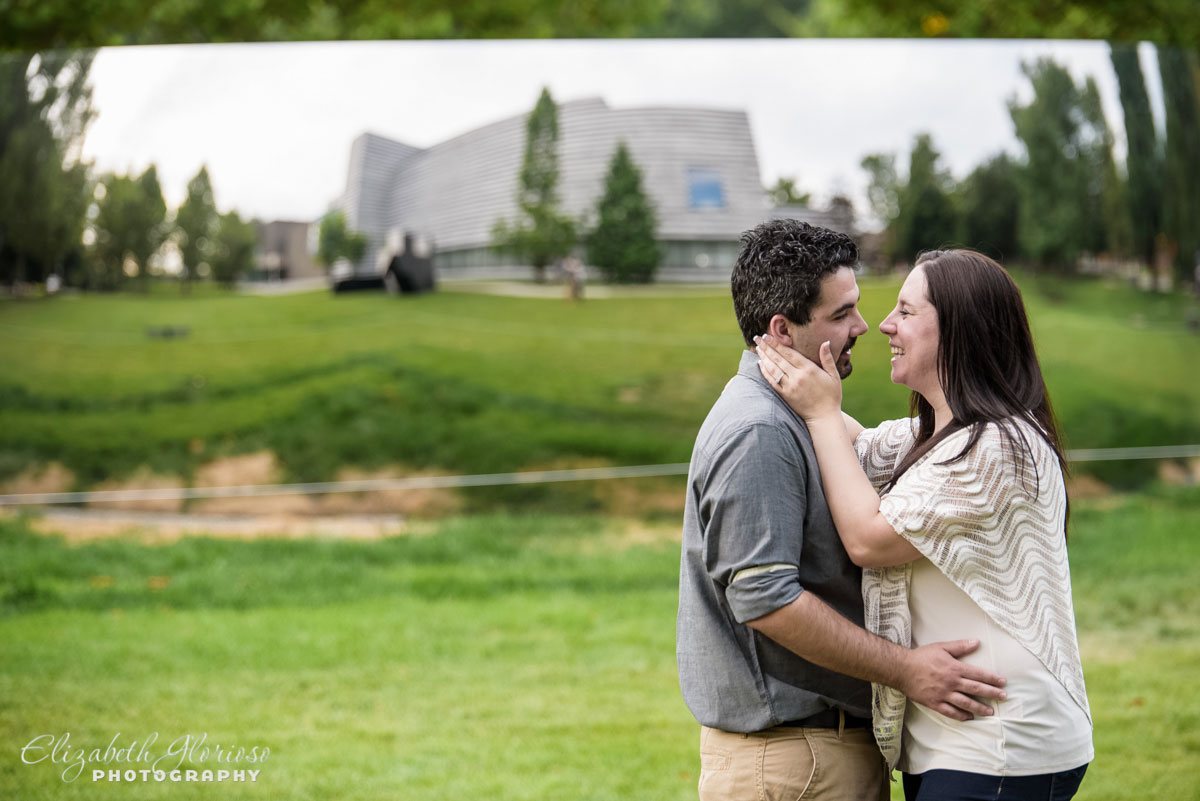 Couple embraces at the Cleveland Museum of Art in Cleveland Ohio