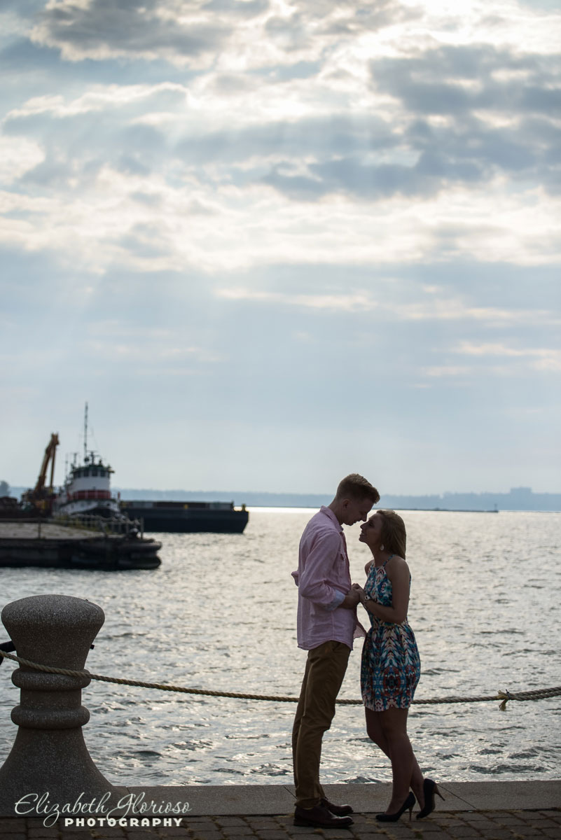 Engagement session at sunset on East 9th Street pier in Cleveland, Ohio