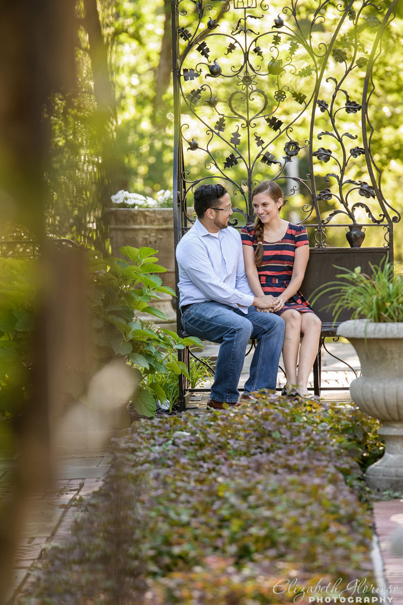Couple at their engagement session at Cleveland Cultural Gardens in Cleveland Ohio