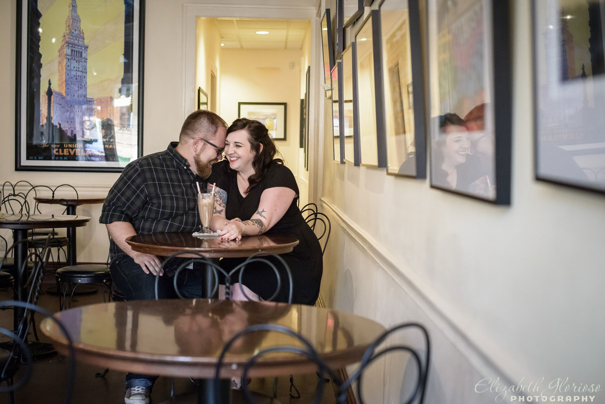 Engagement session at ice cream shop at Gordon Square in Cleveland, Ohio