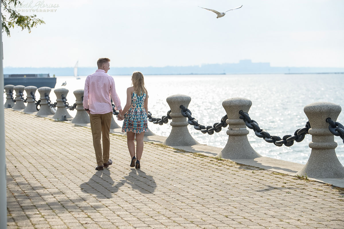 Engagement session on East 9th Street pier in Cleveland, Ohio