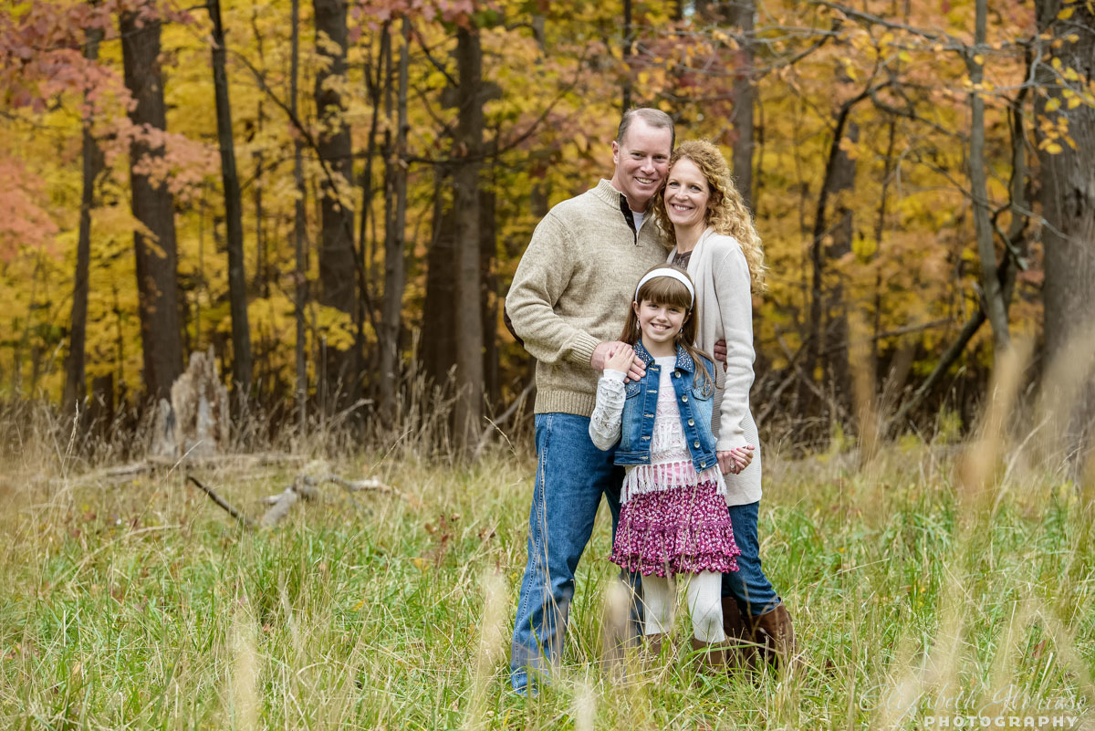 Family portrait session with mother, father and daughter taken at the Cleveland Metroparks