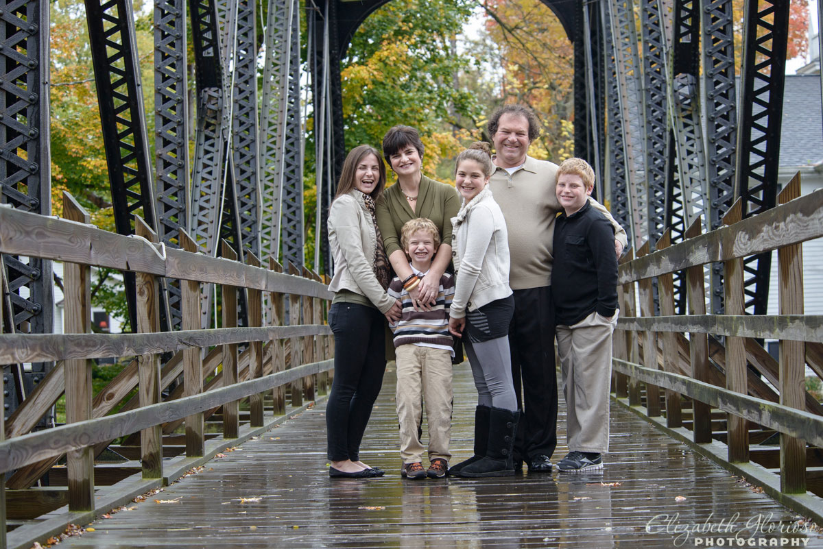 Outdoor family of five portrait taken in Chagrin Falls, Ohio