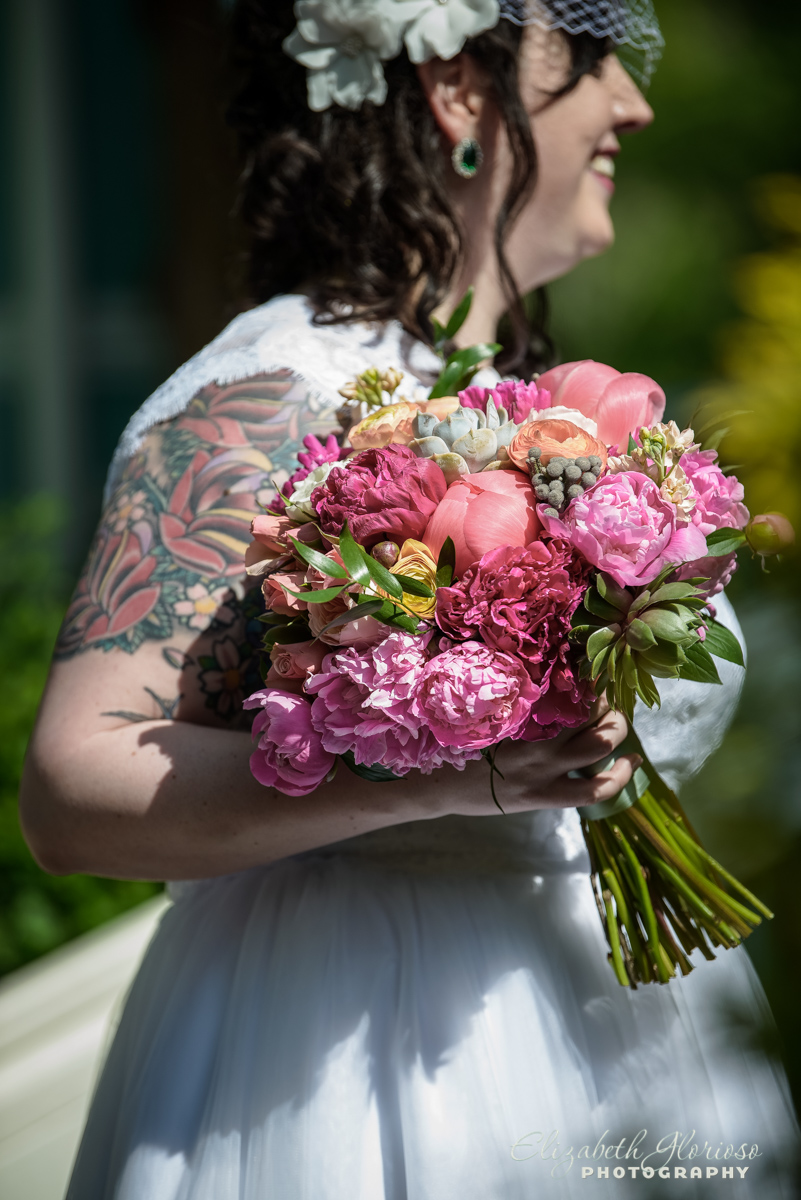 Bridal bouquet with Pink and peonies with succulents