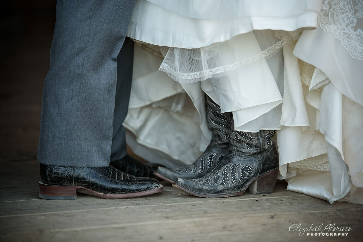 Wedding pictures of bride and groom's feet taken at barn in Cleveland, OH.