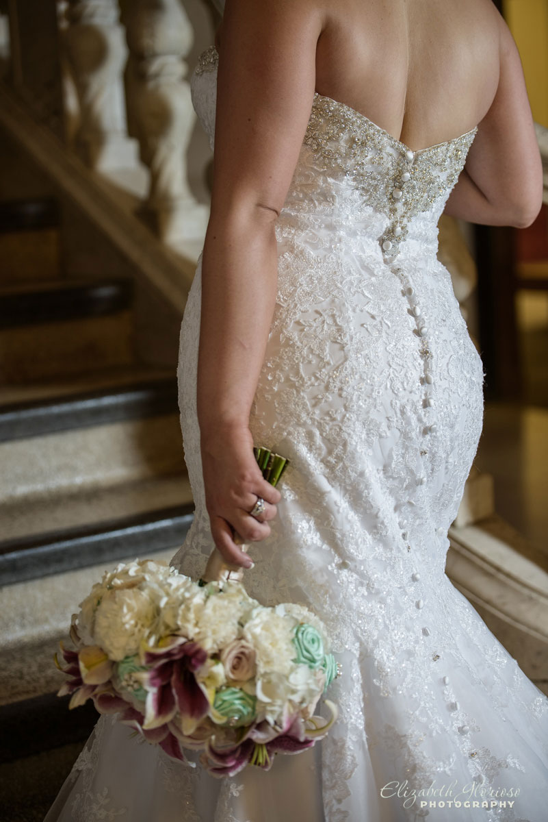 Wedding picture of bride and her bouquet at the Cleveland Public Library
