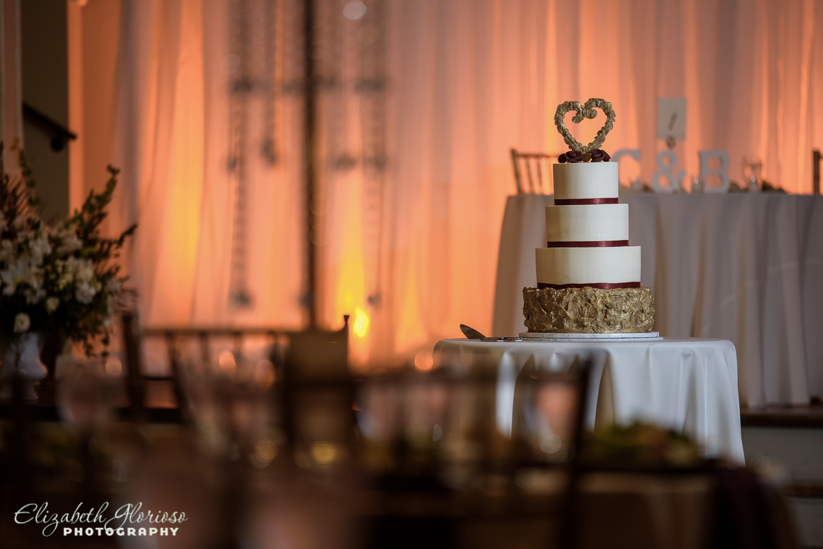 Wedding cake by Cookie and A Cupcake at The Ballroom at Parklane Cleveland Ohio