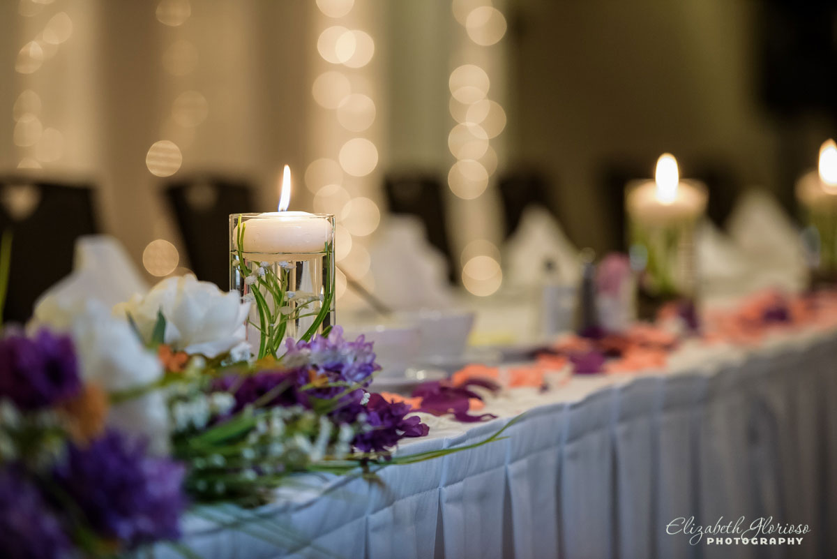 Photo of candles at wedding reception at the Hilton Double Tree Cleveland