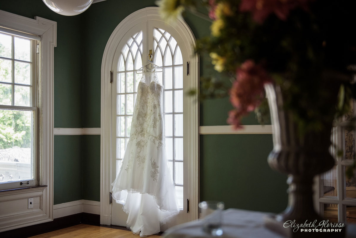 Picture of wedding dress taken at Mooreland Mansion in Kirtland, OH